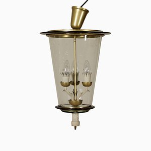 Ceiling Lamp in Brass & Glass, 1940s