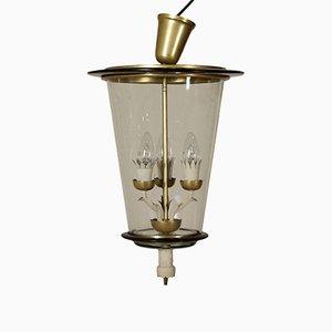 Lampada da soffitto in ottone e vetro, anni '40
