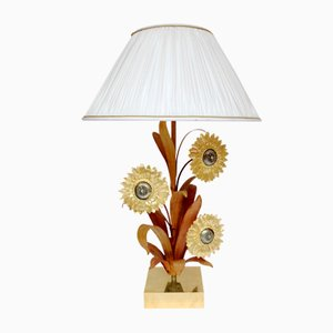 Gilded Brass & Bronze Sunflower Lamp, 1970s