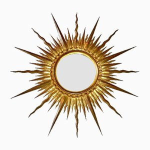 Vintage French Gilded Wood Sun Mirror