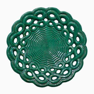 Green Faience Fruit Bowl by Blanche Letalle for Saint-Clément, 1940s