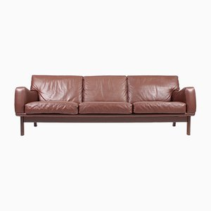 3-Seater Brown Leather Sofa from Eran, 1960s
