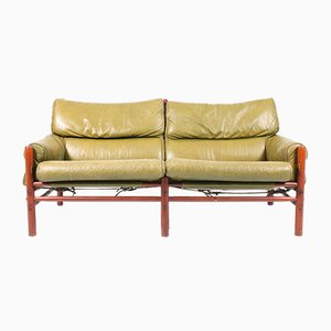 Mid-Century Sofa aus patiniertem Leder von Arne Norell