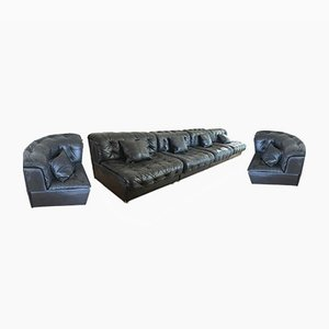 Modular Model DS-11 Black Leather Sofa from de Sede