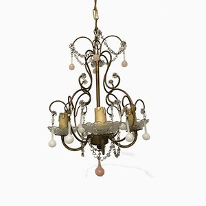 Vintage Gilded Chandelier with Opaline Glass Pendants