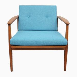 Hellblauer vintage Armlehnstuhl aus Buche