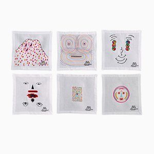 Alla Carta Tovaglioli Napkin Collection by Claire Dupont for Bellavia Ricami SPA, Set of 6