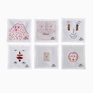 Colección de servilletas Alla Carta Tovaglioli de Claire Dupont para Bellavia Ricami SPA. Juego de 6
