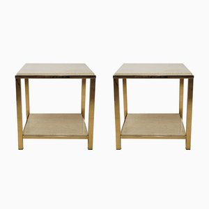 Gold & Travertine Side Tables from Belgo Chrom, 1970s, Set of 2