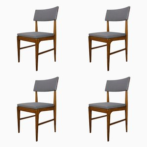 Teak & Metal Dining Chairs, 1950s, Set of 4