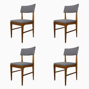 Teak & Metall Esszimmerstühle, 1950er, 4er Set