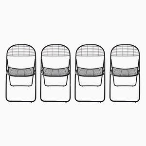 Sillas plegables de metal lacado en negro, años 70. Juego de 4