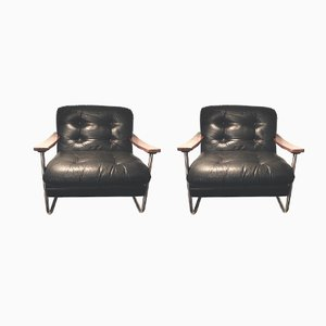 Mid-Century Walnut Armchairs, Set of 2