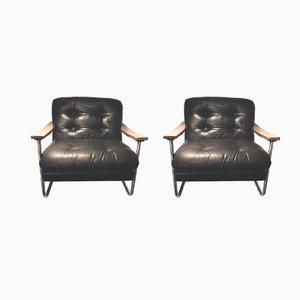 Mid-Century Walnut Armchairs, Set of 2