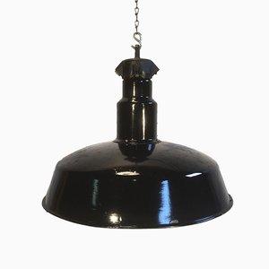 Lampe d'Usine Industrielle Mid-Century Eamillée Noir, 1950s