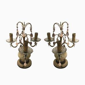 Lampade da tavolo vintage con pendenti in vetro di Murano, set di 2