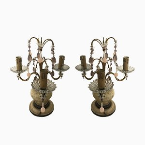 Vintage Table Lamps with Murano Pendants, Set of 2
