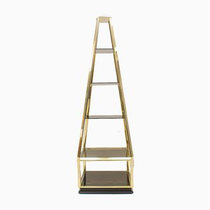 Hollywood Regency Pyramid Shelves in Gilt Brass & Smoked Glass, 1960s