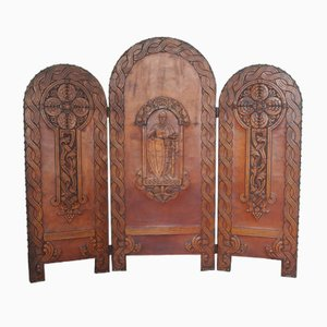 Romanesque Embossed Leather Screen or Room Divider, 1900s