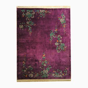 Art Deco Chinese Hand-Knotted Floral Carpet, 1920s