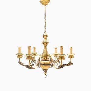 Lámpara de araña italiana dorada con seis brazos, años 60