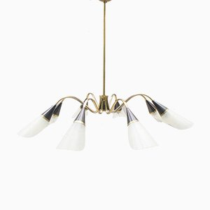 Mid-Century Sputnik Glass & Brass 8-Arm Ceiling Lamp
