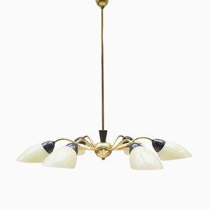 Mid-Century Sputnik Glass & Brass 6-Arm Ceiling Lamp
