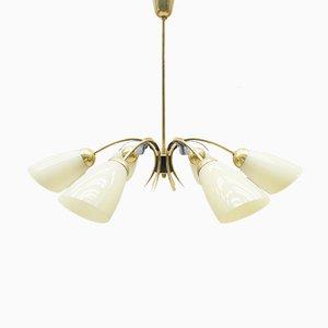 Lámpara de techo Sputnik Mid-Century bicolor de latón y vidrio de seis brazos