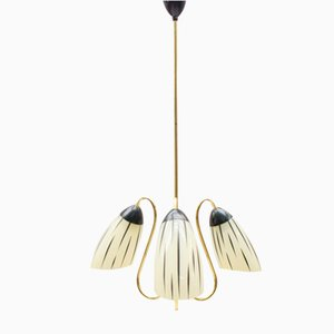 Mid-Century Sputnik Glass & Brass Ceiling Lamp