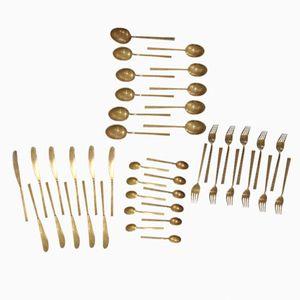 Vintage Scanline Brass Cutlery Set by Sigvard Bernadotte