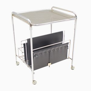 Chrome Trolley with Newspaper Rack & Bottle Holder from VOSS, 1970s