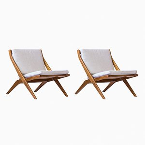 Mid-Century Scissor Lounge Chairs by Folke Ohlsson for Bodafors, Set of 2