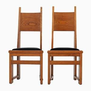 Art Deco Dutch Oak High Back Chairs by Henk Wouda for Pander, 1920s, Set of 2