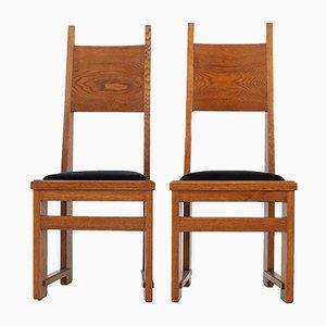 Sedie Art Déco con schienale alto in legno di quercia di Henk Wouda per Pander, Paesi Bassi, anni '20, set di 2