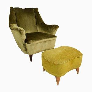 Italienisches Sessel & Fußhocker Set, 1960er