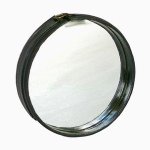 Französischer Spiegel mit schwarzem Lederrahmen von Jacques Adnet, 1950er
