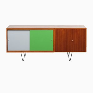 Teak Sideboard with Colorful Sliding Doors, 1960s