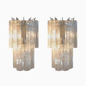 Lámparas de pared italianas de cristal de Murano, años 60. Juego de 2