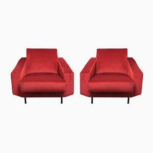 Mid-Century Red Armchairs, 2er Set