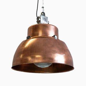 Grande Lampe d'Usine Industrielle avec Incrustations en Verre, 1930s