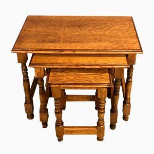 Tavolini a incastro Mid-Century in legno di quercia