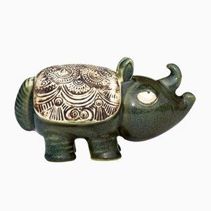 Rinoceronte de gres de Lisa Larson para Gustavsberg, años 60