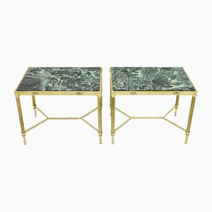 Italian Brass Side Tables with Green Marble Tops, 1960s, Set of 2