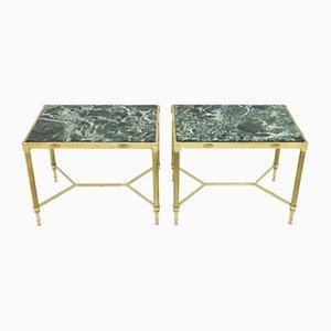 Tables d'Appoint en Laiton avec Plateaux en Marbre, 1960s, Set de 2