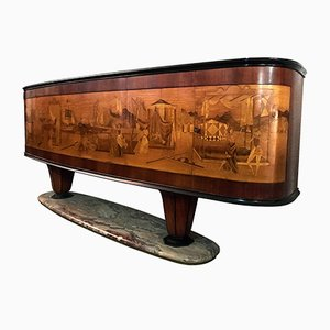 Italian Art Deco Sideboard with Inlaid Scene by Vittorio Dassi for Dassi, 1940s