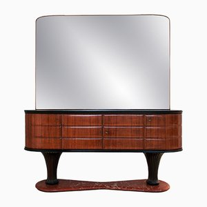 Italian Rosewood Sideboard with Mirror & Black Opaline Top by Vittorio Dassi, 1950s