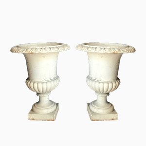 Vintage Medici Urns in Iron, Set of 2