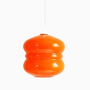 Italienische orangene Glas Hängelampe, 1970er