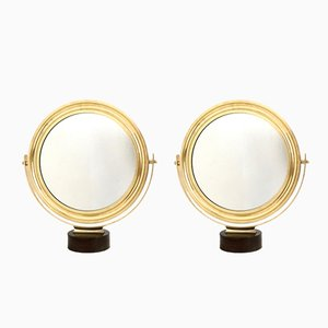 Italian Brass Frame Vanity Mirrors by Sergio Mazza, 1960s, Set of 2