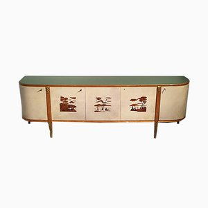 Mid-Century Italian Parchment Sideboard by Giovanni Gariboldi, 1940s